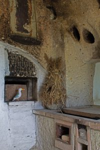Seamus the Seagull standing in niche in kitchen in Hungarian cave dwelling