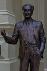 statue of Nobel Prize winner, Albert Szent-Györgyi on steps of Szeged University, Hungary