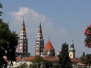 View of Szeged, Hungary with church spires, towers