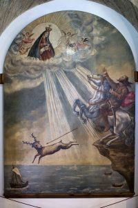 Painting in Sanctuary of Our Lady of Nazaré depicting local legend