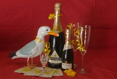 Seamus the Seagull with champagne and glasses
