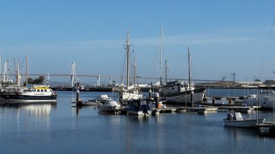 marina with yachts, suspension bridge in background, Figueira da Foz, Portugal