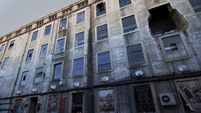 Facade of old factory building, LX Factory, Lisbon
