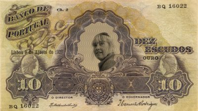 Portuguese banknote with woman with sunglasses on head in centre, Money Museum Lisbon
