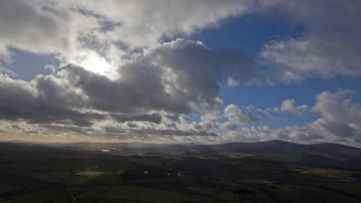 panoramic view of hills, cloudy sky, Wicklow mountains, Ireland