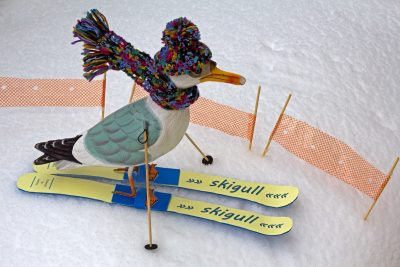 Seamus the Seagull wearing yellow skis, 'Skigull', multicoloured hat and matching scarf flying behind him, ski poles at his wings, on snow with barrier fencing behind him
