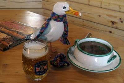 Seamus the Seagull wearing multicoloured scarf around neck standing on wooden table with glass of Puntigamer beer, bowl of soup on plate with spoon, menu and multicoloured wool hat beside him