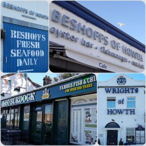 collage of four photos of fishmongers and fish and chip shops, Beshoffs, Leo Burdock, Wrights of Howth, Howth, County Dublin