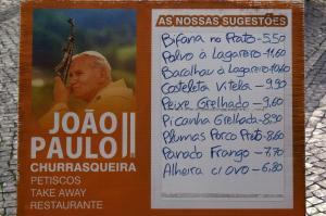 Fatima restaurant John Paul II menu